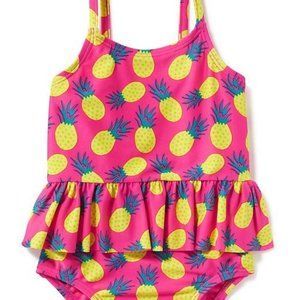 Old Navy Neon Pink Pineapple Ruffle Swimsuit